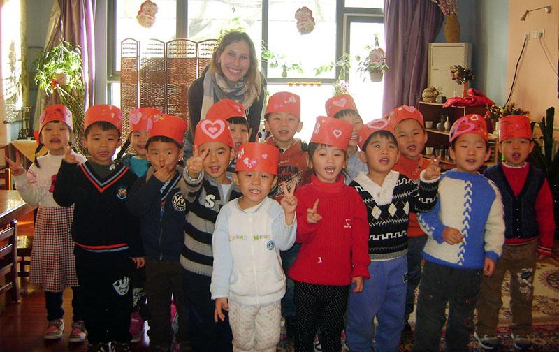 Teaching English to a kindergarten class in Beijing China