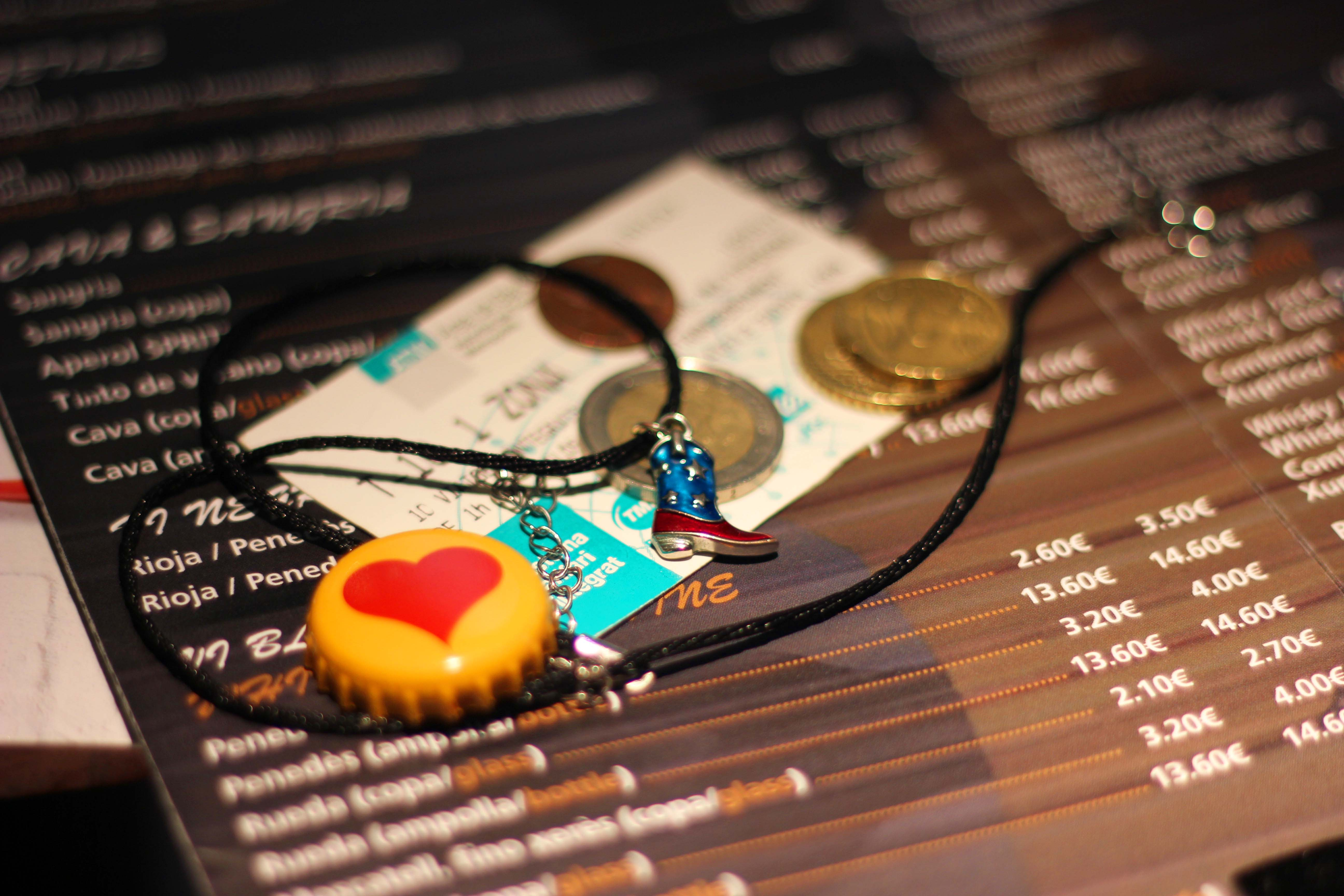Objects placed on top of a Spanish menu, euro coins, American cents, a heart printed bottle cap and cowboy boot necklace decorated with the American flag.