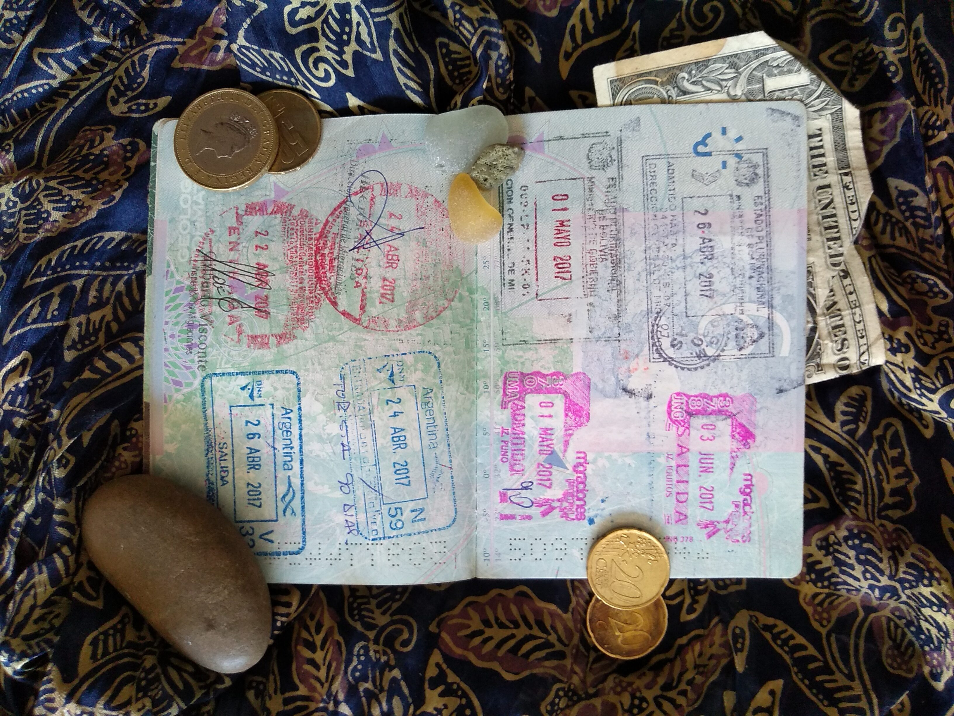 passport filled with stamps from travelling and working as a native English teacher, Tefl Barcelona